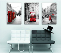 More Panel modern painting decorative - 3 Panels Modern Wall Painting European architecture london picture wall art oil Painting Home Decorative Art Picture Canvas Prints