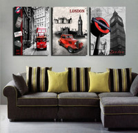 Fashion architecture prints - 3 Pieces Modern Wall Painting European architecture london red bus picture wall art oil Painting Home Decorative Art Picture Canvas Prints