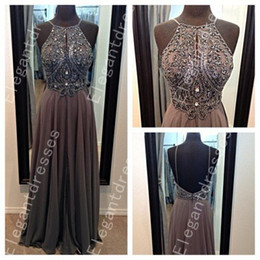Cheap Beautiful Exquisite Beaded Pearls Backless Chiffon Prom Dresses Formal Dresses 2018 Special Occasion Dresses