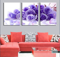 Wholesale 3 Panels Modern Wall Painting The roses beautiful flower picture wall art oil Painting Home Decorative Art Picture Canvas Prints