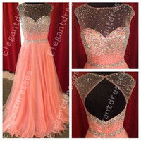 beautiful picture - Best Selling Beautiful Exquisite Beaded Illusion Neck Prom Dresses Formal Dresses Shil11