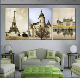 3 Pieces Modern Wall Painting Europe amorous feelings building picture wall art oil Painting Home Decorative Art Picture Canvas Prints