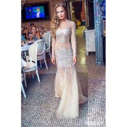 New Design 2016 Mermaid Long Sleeve Champagne Rhinestone Beads Sequins Custom Made Evening Dresses Arabic Formal Dresses Shil 73