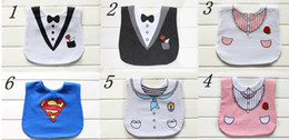 Wholesale mix order superman gentleman tie baby layers waterproof bibs tuxedo baby feeding eating bibs girl boy