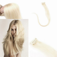 Wholesale 7pcs set Genuine Human Remy Clip in Hair Extensions Clip on Extension platinum blonde
