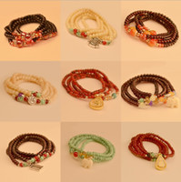 Wholesale Promotions Thailand Lucky Peach asylum bracelet Thai Buddha head multilayer bead bracelet Crystal Bead Bracelet cheap