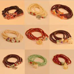 Wholesale Promotions Thailand Lucky Peach asylum bracelet Thai Buddha head multilayer bead bracelet Crystal Bead Bracelet cheap