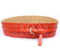 Wholesale Exquisite Faux PU Leather Belts Girdle Elastic Stretch Hollow Flowers Pattern Red Waistband DOF6