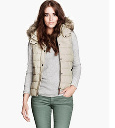 Wholesale Hot Sale Winter Ladies Sleeveless Padded Fashion Fur Collar Hoodies Casual Vests