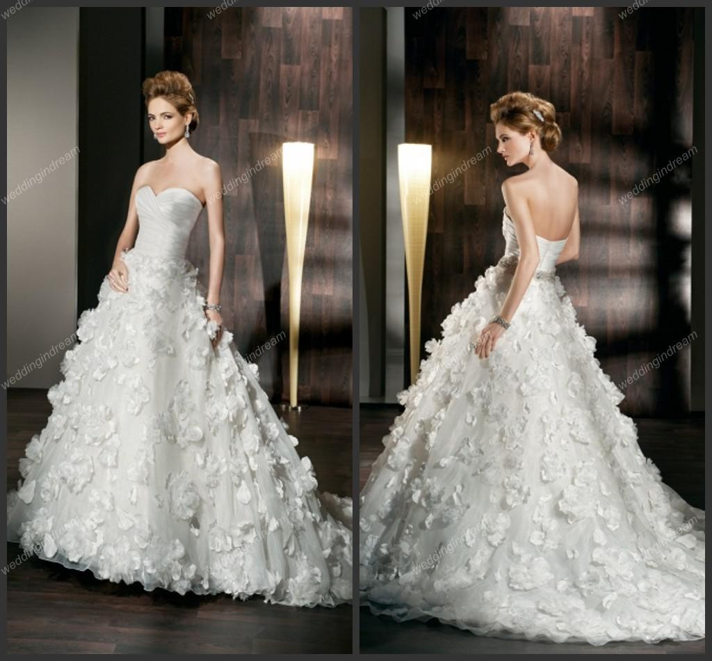 Modest Ball Gown Sweetheart Fit And Flare Floral Appliques