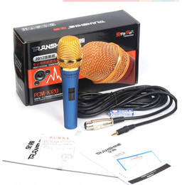Wholesale Pro audio Wired Vocal Microphone For K song Voice Amplifier Speaker Mike With mic cable mm plug in Blue and Red color