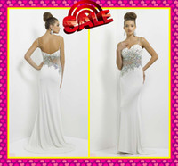 colored rhinestones - 2014 Custom Sheath White Evening Dresses Sexy Spaghetti With Deep V Neck Glitter Colored Rhinestones See Through Long Hot Prom Dress