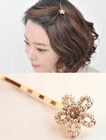Wholesale Fashion Ladies Hair Clips Hollow Flower Barrettes Simulated Pearl Gold Hair Jewelry for Girls Women STS032
