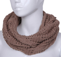 Wholesale Winter Women Infinity Scarf Brown Lady Shawls Crochet Cotton Wraps DOQ4