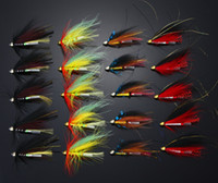 Wholesale 40Pcs Tube Flies Cone Heads Black Red Salmon And Sea Trout Fly Fishing Lures