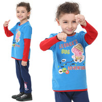 Wholesale A3213 Blue Nova kids wear ready made autumn winter m y children boys t shirts hot George Peppa Pig cotton long sleeve sweater tops