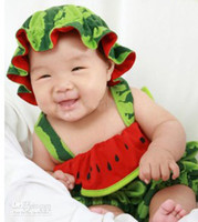 Girl Summer 100% Cotton New Arrival Toddler Baby Watermelon Rompers Infant Baby Character Fruit Style Cute Summer Newborn's Romper With Hat Set B2482