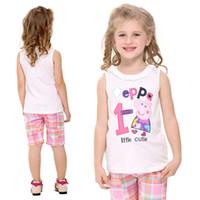 Wholesale N4532 Cream Green Nova Kids wear m y baby girls tank tops cartoon peppa pig vest cotton sleeveless t shirts baby ruffled neckline vest