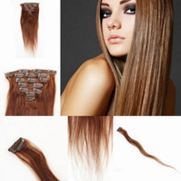 Wholesale 7pcs Human Clip in Remy Hair Extensions Brazilian Clip on Hair Extension Natural Straight g Darkest Brown FAST EXPRESS