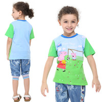 Wholesale C4676 nova kids cartoon clothing peppa pig clothes boys short sleeve t shirts football print blue Shirt summer top baby in stock