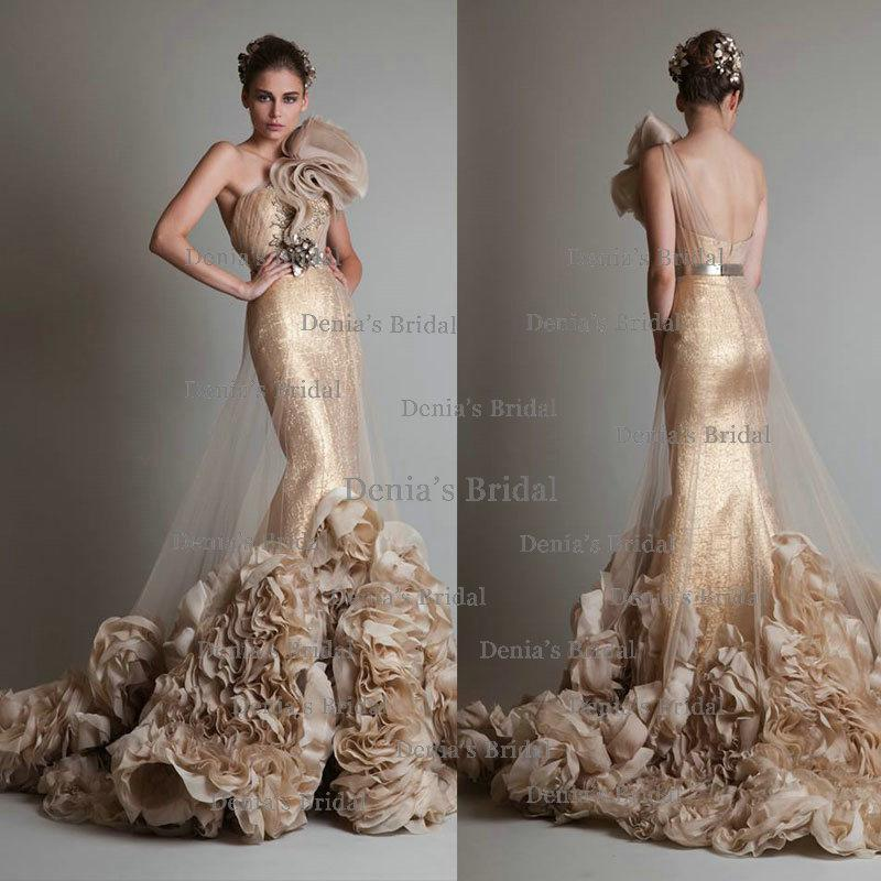 White And Gold Mermaid Wedding Dresses : Gallery for gt white and gold mermaid wedding dresses