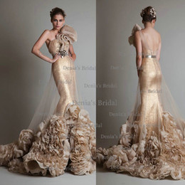 Wholesale 2014 Sexy Gold Mermaid Backless Wedding Dresses with Sash one shoulder Sweep Train Ruched Tulle and Appliques Wedding Gowns Dhyz
