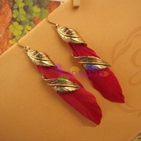 Wholesale 1pair Western fashion leaves feather earrings lady earring ear pendants bohemia folk dangler stage performance handmade jewelry accessories