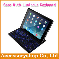 Wholesale For iPad Air Ultrathin Aluminium Alloy Black Stand Pouch Case With Luminous Bluetooth Keyboard ABS amp PU amp Matel Folio Filp Holder Cover