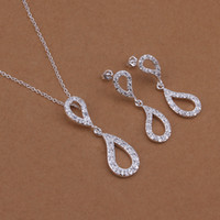 Wholesale stering silver palted fashion earrings and necklace jewelry sets inlay zircon S422