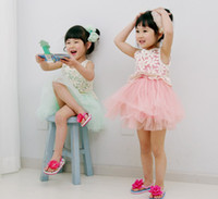 TuTu Summer A-Line Summer New Sleeveless Children Gauze Dress %100 Good Quality Lace Baby's Girl Princess Dress Party Dresses Kids Vest Dresses Clothes QZ513