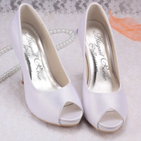 Wholesale Colors Magic Bride Simple Design Thick Heel Shoes Ladies White Satin Summer Peep Toes