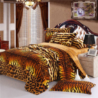 Adult Twill 100% Cotton Tiger Skin style Fashion unique 4pc bedding set winter bedsheets sanded thicken Cotton Fabric Duvet Quilt covers bed Linen sets