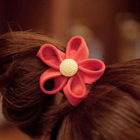achat en gros de cheveux corde multicolore-Gros - 6136 fermeture à glissière fleur bandeau de cheveux mode de corde d'or de la boucle de cheveux de la corde accessoire de cheveux multicolore