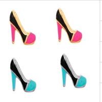 Wholesale 50pcs mm High heels shoe charms for floating locket original owl locket