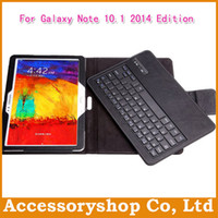Wholesale Galaxy Note Edition P600 Ultrathin PU Leather Stand Pouch Case With Remove Bluetooth Keyboard New Folio Filp Holder Cover Free DHL