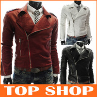 Other Men Plus Size The new fall and winter clothes and more foreign men Men Slim Short leather zipper machine wagon jacket