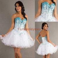 Wholesale In Stock New A Line Strapless Sleeveless Sexy Sweetheart Blue Beads White Organza Formal Homecoming Party Cocktail Short Prom Dresses