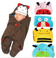 Wholesale new born infant baby sleeping bag for stroller monkey ladybird bee dog owl sleeping bag baby Cartoon blanket designs
