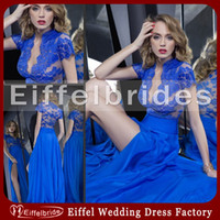 Wholesale 2014 Cheap Elegant Lace Evening Dresses Long with Sexy Deep V Neckline and Glamorous Sheer Back A line High Side Slit Royal Blue Prom Gowns