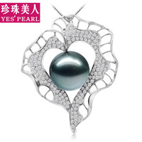Wholesale Natural beauty pearl Tahitian black pearl pendant perfect circle mm K white gold diamond necklace