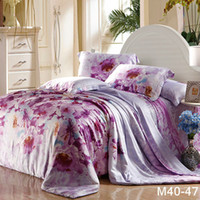 Wholesale purple Floral printed pc bedding set Luxury bedspread TC tencel fabric Duvet covers bed sheets pillowcase sets King queen
