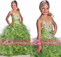 Wholesale 2014 DHgate hot selling green girl s pageant dresses halter backless ruffles sequins rhinestones floor length organza ball gowns UF3017F