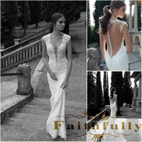 Wholesale Lace Sheer Wedding Dresses Vintage Deep V Neck Illusion Back Covered Button Mermaid Court Train Wedding Bridal Dresses Gowns