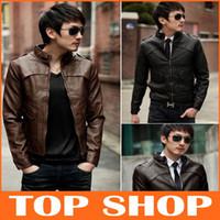 korean men fashion - New winter men s fashion collar Korean Slim Wallet Belt PU leather jacket coat FZ0047