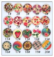 al por mayor adornos de madera de artesanía-60 X Mixed Flower Styles Madera De Madera Botones 15mm 2 Holes Botón De Costura DIY Ronda Embellecimiento Herramienta De Artesanía