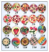 achat en gros de coudre des boutons d'artisanat mixtes-60 X Styles de fleurs mixtes Bois Boutons en bois 15mm Boutons 2 boutons de couture Bricolage Embellissements ronde Craft Tool