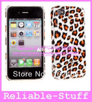 For Apple iPhone Plastic Yes Snap on Leopard Animal Print Rubber Coating Hard Case Phone Cover Shell for iPhone 4S 4 4G iPhone4 50pcs lot IPAC304
