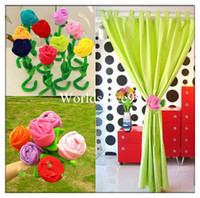 Wholesale Plush Rose Flower Tieback Curtain Strap Tie Holder Buckle Clip Home Party Decor Gifts