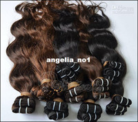 Wholesale quot quot Wavy Indian Hair weft Treated Human hair Extension Color1b