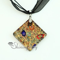 Pendant Necklaces bulk glitter - square glitter foil millefiori murano lampwork glass venetian necklaces pendants Fashion jewelry in bulk